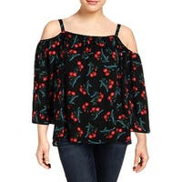 Vince Camuto Womens Plus Blouse Floral Print Cold Shoulder - 1X