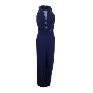 Nightway Women's Glitter Lace Illusion Jumpsuit - Twilight