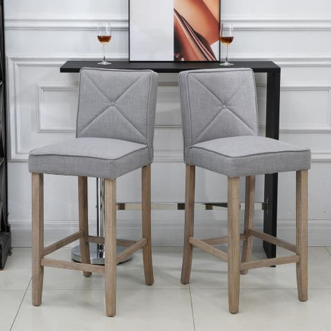 HomCom 2-Piece Bar Height Barstools Chair with Convenient Build-In Footrest, Solid Wood Legs, & Stylish Modern Decor