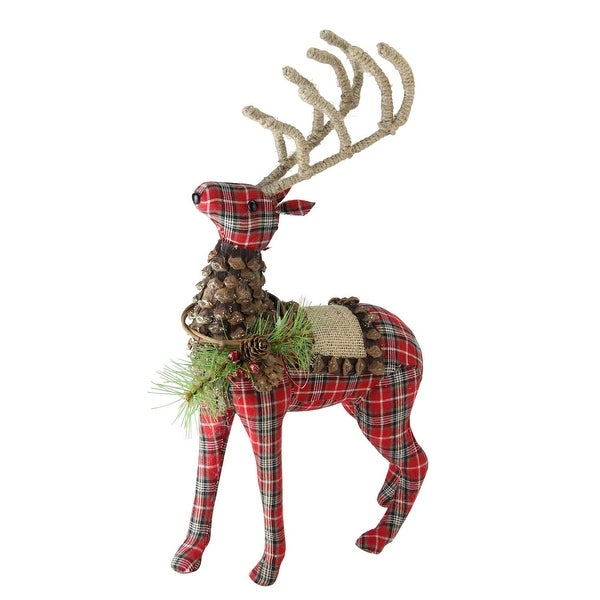 """16.75"""" Holiday Moments Red Plaid Standing Stuffed Reindeer Christmas Decoration - brown"""