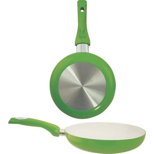 "Dura-Kleen 8120-GR Ceramic Coated Aluminum Fry Pan, 8"", Green"