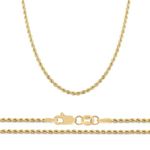 Mcs Jewelry Inc 14 KARAT YELLOW GOLD CLASSIC SEMI SOLID ROPE CHAIN NECKLACE (2MM)