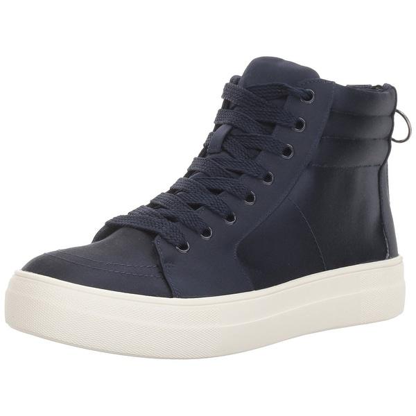 Steve Madden Women's Golly Fashion Sneaker, Navy Satin, Size 8.0 - 8