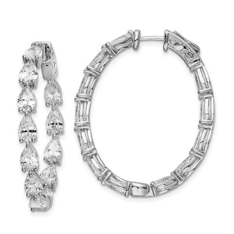 Sterling Silver Cubic Zirconia In and Out Teardrop Hoop Earrings by Versil