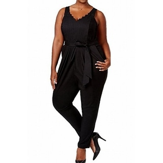 Melissa McCarthy Seven7 NEW Black Womens Size 2X Plus Belted Jumpsuit