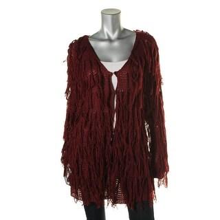 Lucy Paris Womens Crochet Fringe Cardigan Sweater