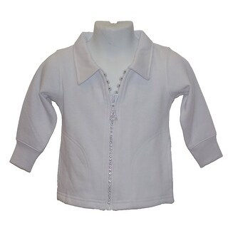 Little Girls Crystal Zipper White Cardigan With Collar And Pockets 6M-4T