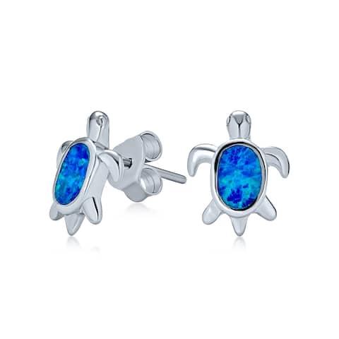 Hawaiian Blue Created Opal Turtle Stud Earrings Small Sterling Silver