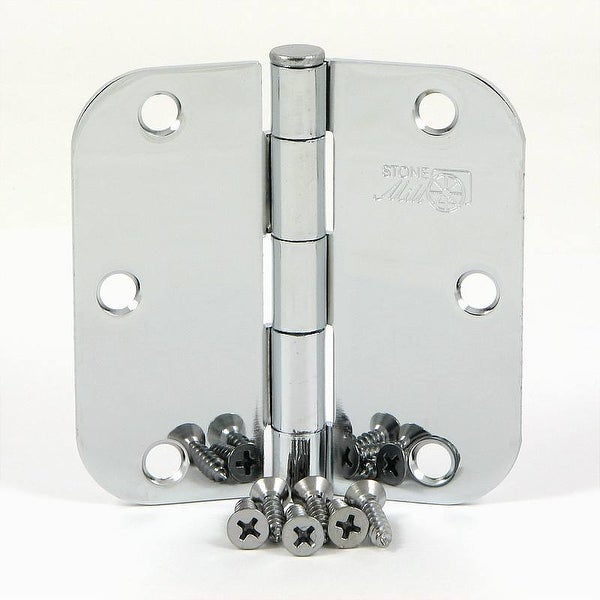 Stone Mill Hardware - 3.5-inch Polished Chrome Door Hinges (Pack of 2)