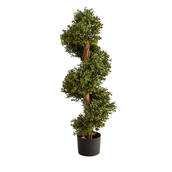"""33"""" Boxwood Topiary Spiral Artificial Tree (Indoor/Outdoor) - 6"""". Opens flyout."""
