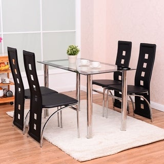 costway 5 piece dining set glass table and 4 chairs home kitchen breakfast furniture new - Kitchen Glass Table