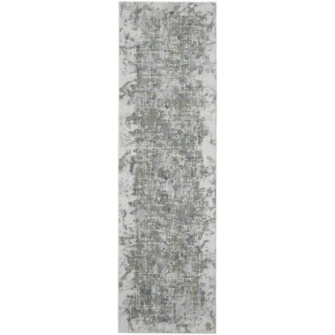 Halton Contemporary Marble Rug, Silver Gray/Green, 3ft x 8ft, Runner - Big