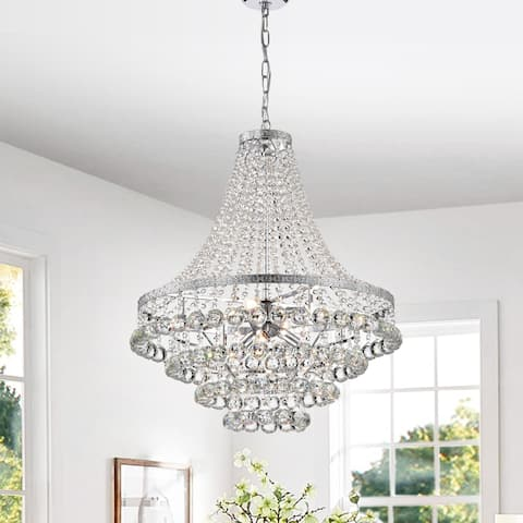 Chrome 7-Light Empire Four Tier Chandelier with Crystal