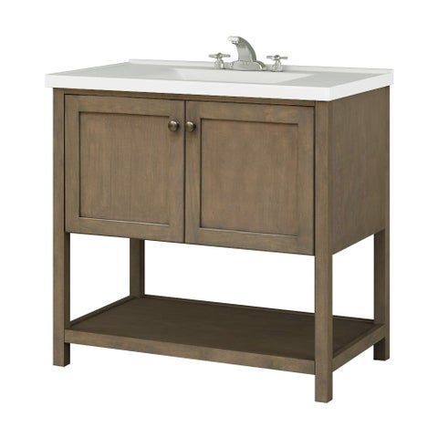 """Sunny Wood AN3621 Aiden 36"""" Hardwood Vanity Cabinet Only - taupe"""
