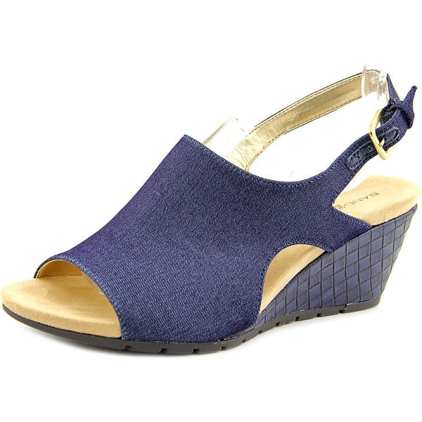 Bandolino Galatee Women Open Toe Canvas Blue Wedge Sandal