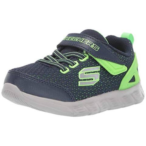 Skechers Kids Boys' Compfy Flex-Interdrift Sneaker, Navy/Lime, 8 Medium Us Toddler