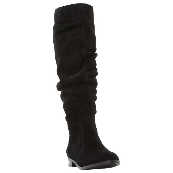Steve Madden Womens Beacon Suede Almond Toe Knee High Fashion, Black, Size 11.0