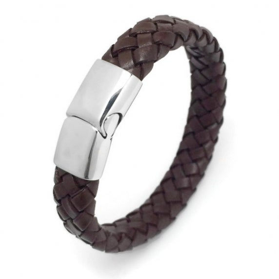 Loralyn Designs Mens Womens Wide Brown Braided Leather Bracelet with Stainless Steel Magnetic Clasp