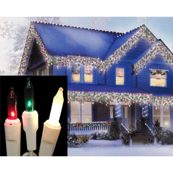 Set of 100 Red, Green & Frosted Clear Mini Icicle Christmas Lights - White Wire