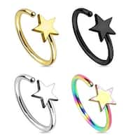 Star Titanium IP 316L Surgical Steel Nose Ring (Sold Individually)