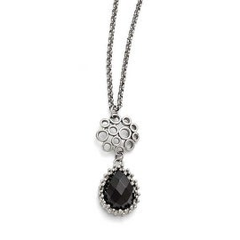 Chisel Stainless Steel Polished Black Onyx with 2in ext. Necklace - 18 in