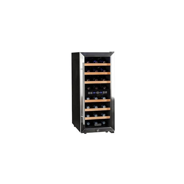 """Koldfront TWR247E 14"""" Wide 24 Bottle Wine Cooler with Dual Cooling Zones - Stainless Steel - N/A"""