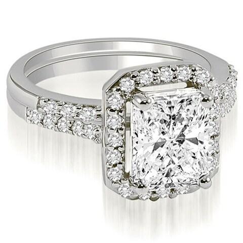 1.06 ct.tw 14K White Gold Emerald And Round Cut Halo Diamond Bridal Set,HI,SI1-2 HI, SI1-2