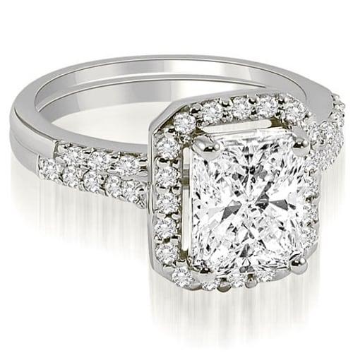 1.56 cttw. 14K White Gold Emerald And Round Cut Halo Diamond Bridal Set