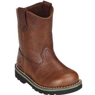 John Deere Boys Girls Brown Leather Western Boots Baby Toddler 4-8