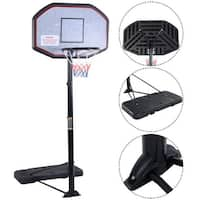 Costway 10ft 43'' Backboard In/outdoor Adjustable Height Basketball Hoop System - Black