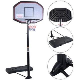 Costway 10ft 43'' Backboard In/outdoor Adjustable Height Basketball Hoop System - Black