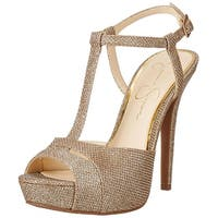 Jessica Simpson Womens Barretta Open Toe Casual T-Strap Sandals