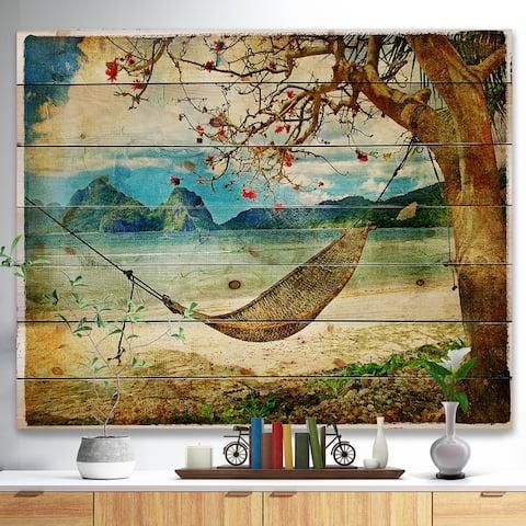 Designart 'Tropical Sleeping Swing' Digital Art Landscape Print on Natural Pine Wood - Brown
