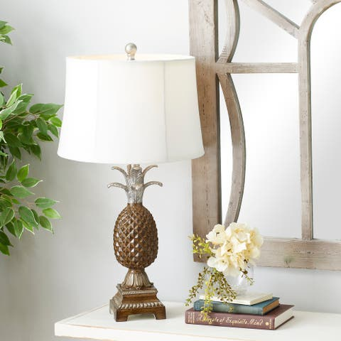 Studio 350 Brown Polystone Coastal Table Lamp (Set of 2) - 15 x 28