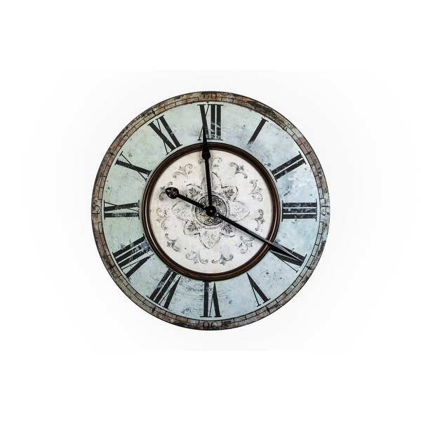 Distressed Mint Green Wood Wall Clock. Opens flyout.