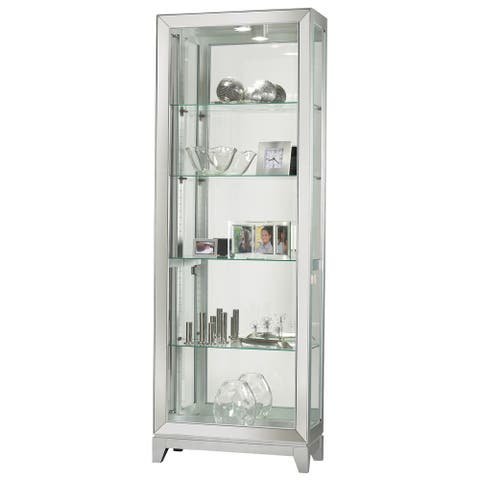 Howard Miller Shayne Silver Wood and Glass Curio Cabinet