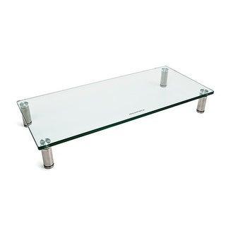 Monoprice Multi Media Stand & Riser, Laptop, Monitor, TV -Clear Glass