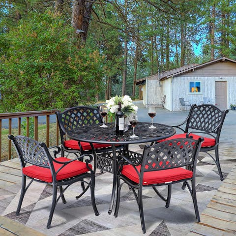 NUU GARDEN 5-piece Patio Solid Cast Aluminum Dining Set with Cushions