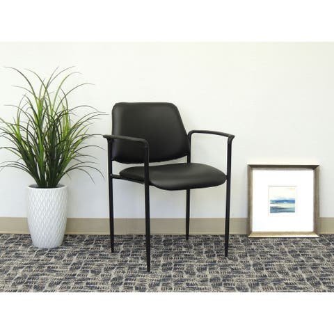 Boss Square Back Diamond Stacking Chair with Arm in Black Caressoft