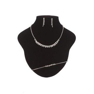 Girls Silver Tone Dazzling Rhinestone Necklace Bracelet Earrings Jewelry Set