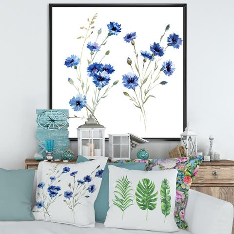 Designart 'Blue Cornflowers With Green Leaves III' Traditional Framed Canvas Wall Art Print