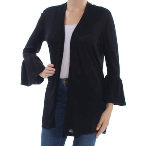 ALFANI Womens Black Bell Cuff 3/4 Sleeve Open Cardigan Sweater Size: M