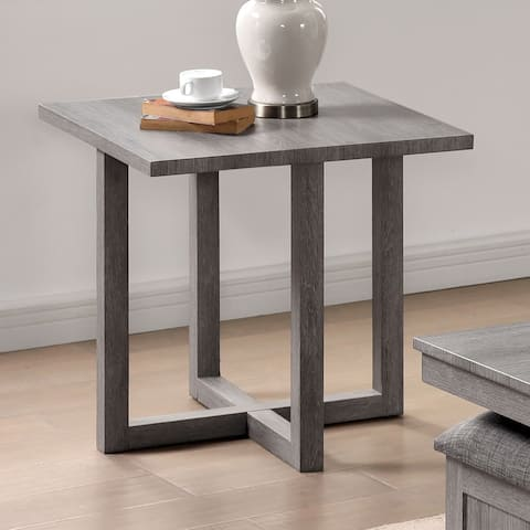 Furniture of America Donware Transitional Light Grey 24-inch Side Table