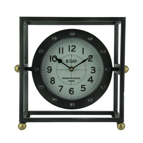 Black and Brass Metal Caged In Swivel Clock