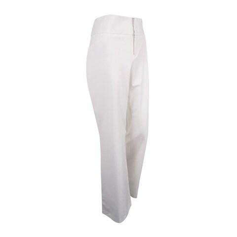 INC International Concepts Women's Curvy Flare-Leg Trousers (10, Bright White) - Bright White - 10