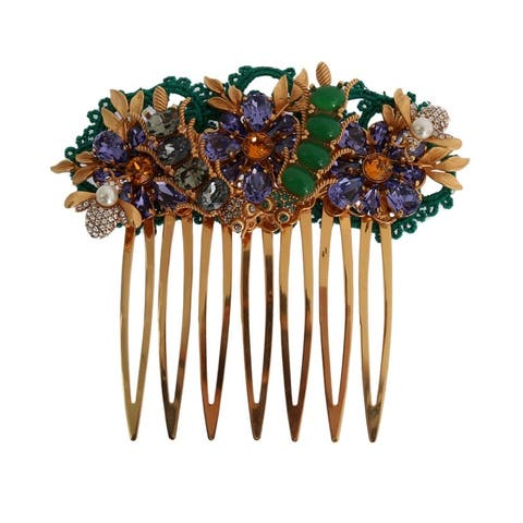 Dolce & Gabbana Gold Crystal Floral Fly Hair Women's Comb - One Size