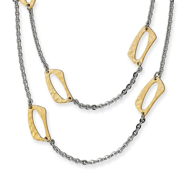 Chisel Stainless Steel Gold IP Plated Square Link Necklace (11 mm) - 22 in