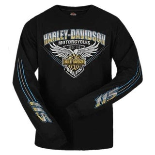 Harley-Davidson Men's 115th Anniversary Stripe Eagle Long Sleeve Shirt, Black