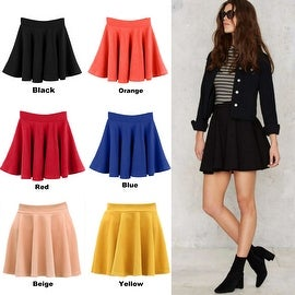 NEW Womens Cotton Solid Flared Skater Pleated Mini Skirt