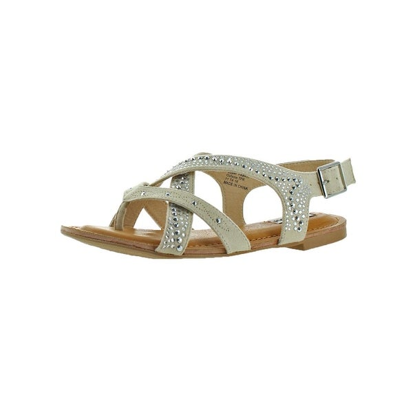 Not Rated Womens Uniti Strappy Sandals Faux Suede Rhinestone